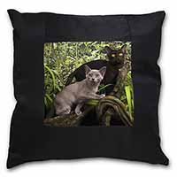 Two Burmese Cats Black Border Satin Feel Cushion Cover+Pillow Insert
