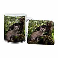 Two Burmese Cats Mug+Coaster Birthday Gift Idea