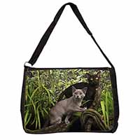 Two Burmese Cats Large Black Laptop Shoulder Bag School/College