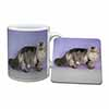 Silver Grey Persian Cat Mug+Coaster Christmas/Birthday Gift Idea