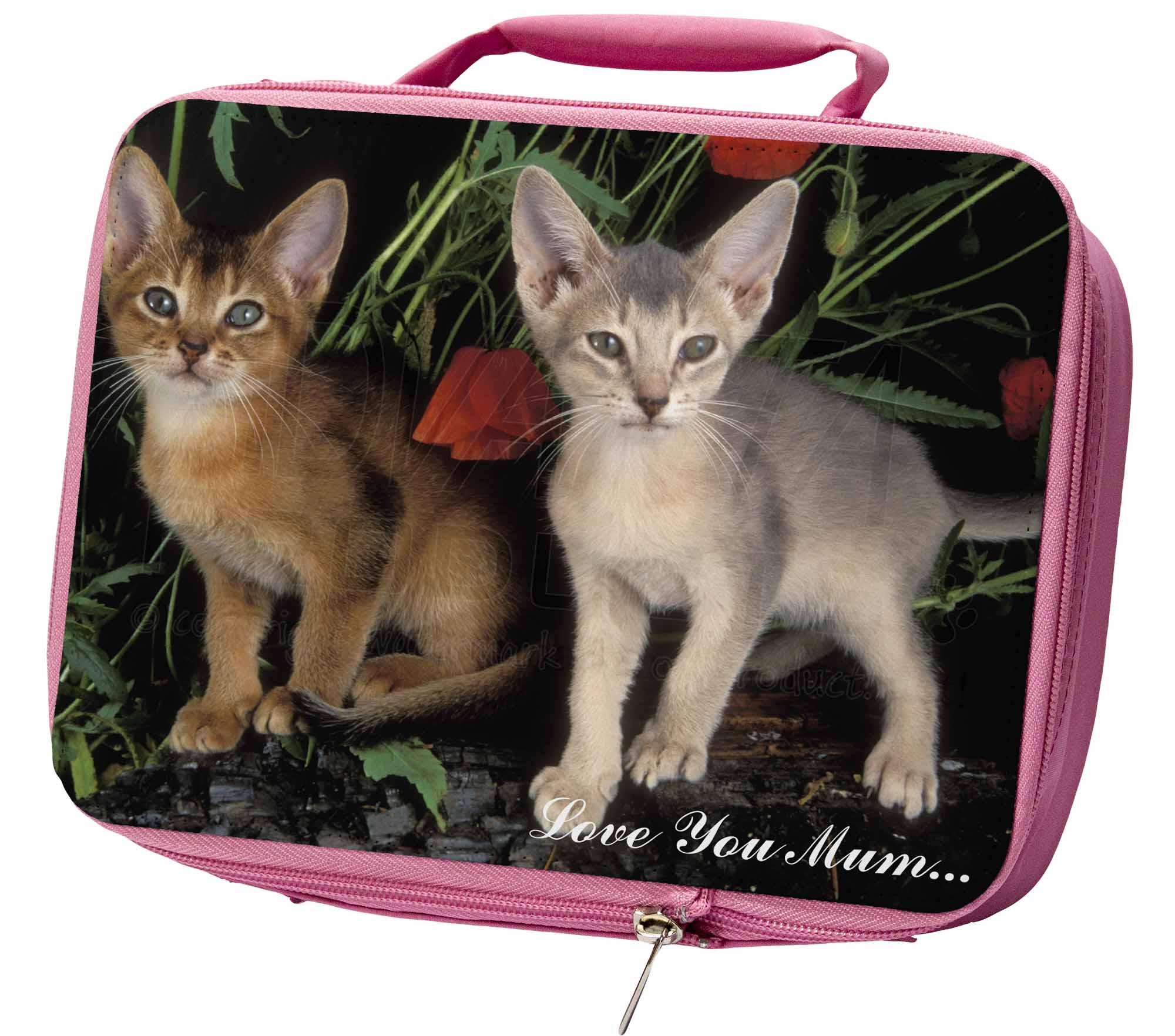Abyssinian Cats 'Love You Mum' Insulated Pink School Lunch Box Bag, AC42lymLBP