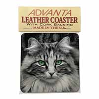 Gorgeous Green Eyes Cat Single Leather Photo Coaster Perfect Gift