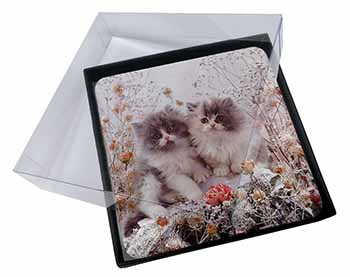 4x Persian Kittens by Roses Picture Table Coasters Set in Gift Box