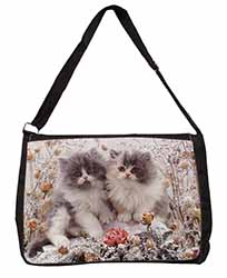 Persian Kittens by Roses Large Black Laptop Shoulder Bag School/College