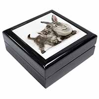 Silver Grey Cat and Rabbit Keepsake/Jewellery Box Christmas Gift