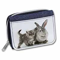 Silver Grey Cat and Rabbit Girls/Ladies Denim Purse Wallet Christmas Gift Idea