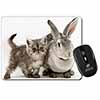 Silver Grey Cat and Rabbit Computer Mouse Mat Christmas Gift Idea