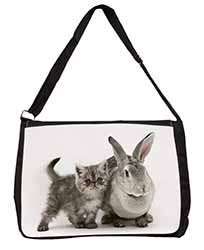 Silver Grey Cat and Rabbit Large Black Laptop Shoulder Bag School/College