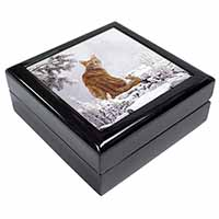 Ginger Winter Snow Cat Keepsake/Jewellery Box Birthday Gift Idea