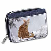 Ginger Winter Snow Cat Girls/Ladies Denim Purse Wallet Birthday Gift Idea