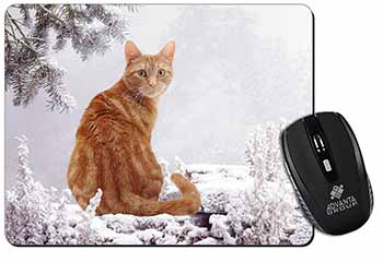 Ginger Winter Snow Cat Computer Mouse Mat Birthday Gift Idea