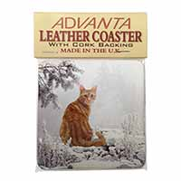 Ginger Winter Snow Cat Single Leather Photo Coaster Perfect Gift