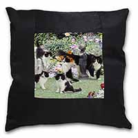 Cats and Kittens in Garden Black Border Satin Feel Scatter Cushion