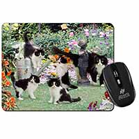 Cats and Kittens in Garden Computer Mouse Mat Birthday Gift Idea