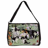 Cats and Kittens in Garden Large Black Laptop Shoulder Bag School/College