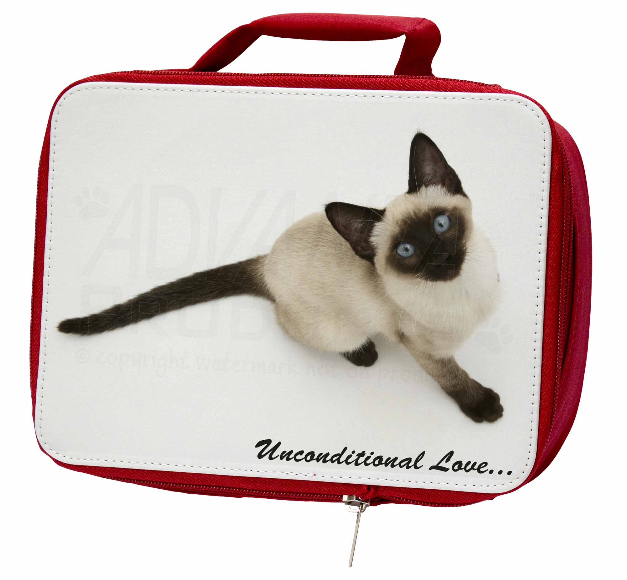 Siamese Cat Lunch 'Unconditional Love' Insulated Red School Lunch Cat Box/Picni, AC-66uLBR 5e0cb1