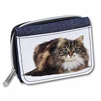 Beautiful Brown Tabby Cat Girls/Ladies Denim Purse Wallet Birthday Gift Idea