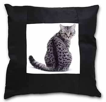 Silver Spot Tabby Cat Black Border Satin Feel Scatter Cushion