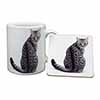 Silver Spot Tabby Cat Mug+Coaster Christmas/Birthday Gift Idea
