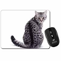 Silver Spot Tabby Cat Computer Mouse Mat Birthday Gift Idea