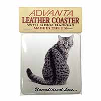 Tabby Cat Love Sentiment Single Leather Photo Coaster Perfect Gift