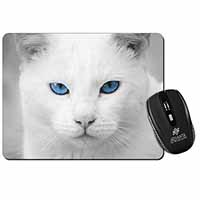 Blue Eyed White Cat Computer Mouse Mat Christmas Gift Idea