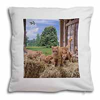 Ginger Cat and Kittens in Barn Soft Velvet Feel Cushion Cover With Pillow Inner