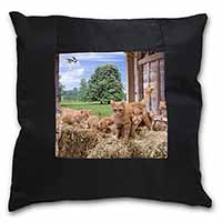 Ginger Cat and Kittens in Barn Black Border Satin Feel Cushion Cover+Pillow Inse
