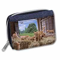 Ginger Cat and Kittens in Barn Girls/Ladies Denim Purse Wallet Birthday Gift Ide
