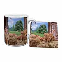 Ginger Cat and Kittens in Barn Mug+Coaster Birthday Gift Idea