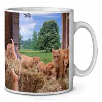 Ginger Cat and Kittens in Barn Coffee/Tea Mug Gift Idea