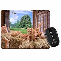 Ginger Cat and Kittens in Barn Computer Mouse Mat Birthday Gift Idea