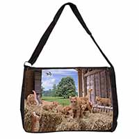 Ginger Cat and Kittens in Barn Large Black Laptop Shoulder Bag School/College