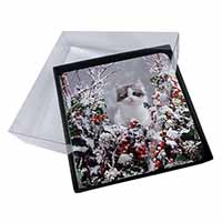 4x Winter Snow Kitten Picture Table Coasters Set in Gift Box