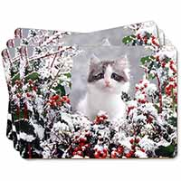 Winter Snow Kitten Picture Placemats in Gift Box