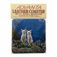 Fantasy Panther Watch on Kittens Single Leather Photo Coaster Perfect Gift