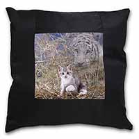 Kitten and White Tiger Watch Black Border Satin Feel Scatter Cushion