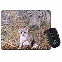 Kitten and White Tiger Watch Computer Mouse Mat Birthday Gift Idea