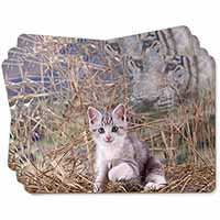 Kitten and White Tiger Watch Picture Placemats in Gift Box
