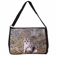 Kitten and White Tiger Watch Large Black Laptop Shoulder Bag School/College