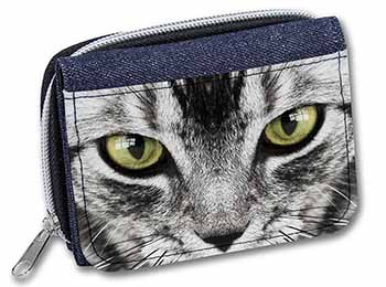 Silver Tabby Cat Face Girls/Ladies Denim Purse Wallet Birthday Gift Idea