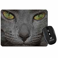 Grey Cats Face Close-Up Computer Mouse Mat Birthday Gift Idea