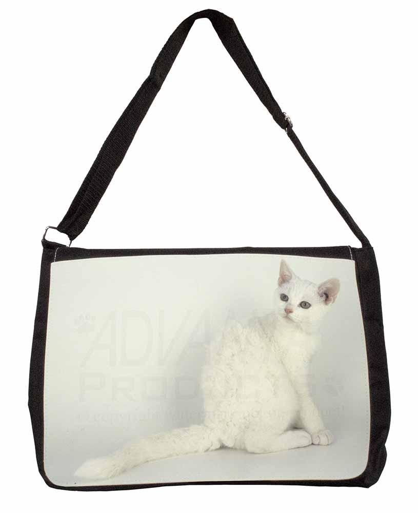 White American Wire Hair Cat Large Black Laptop Shoulder Bag School ...