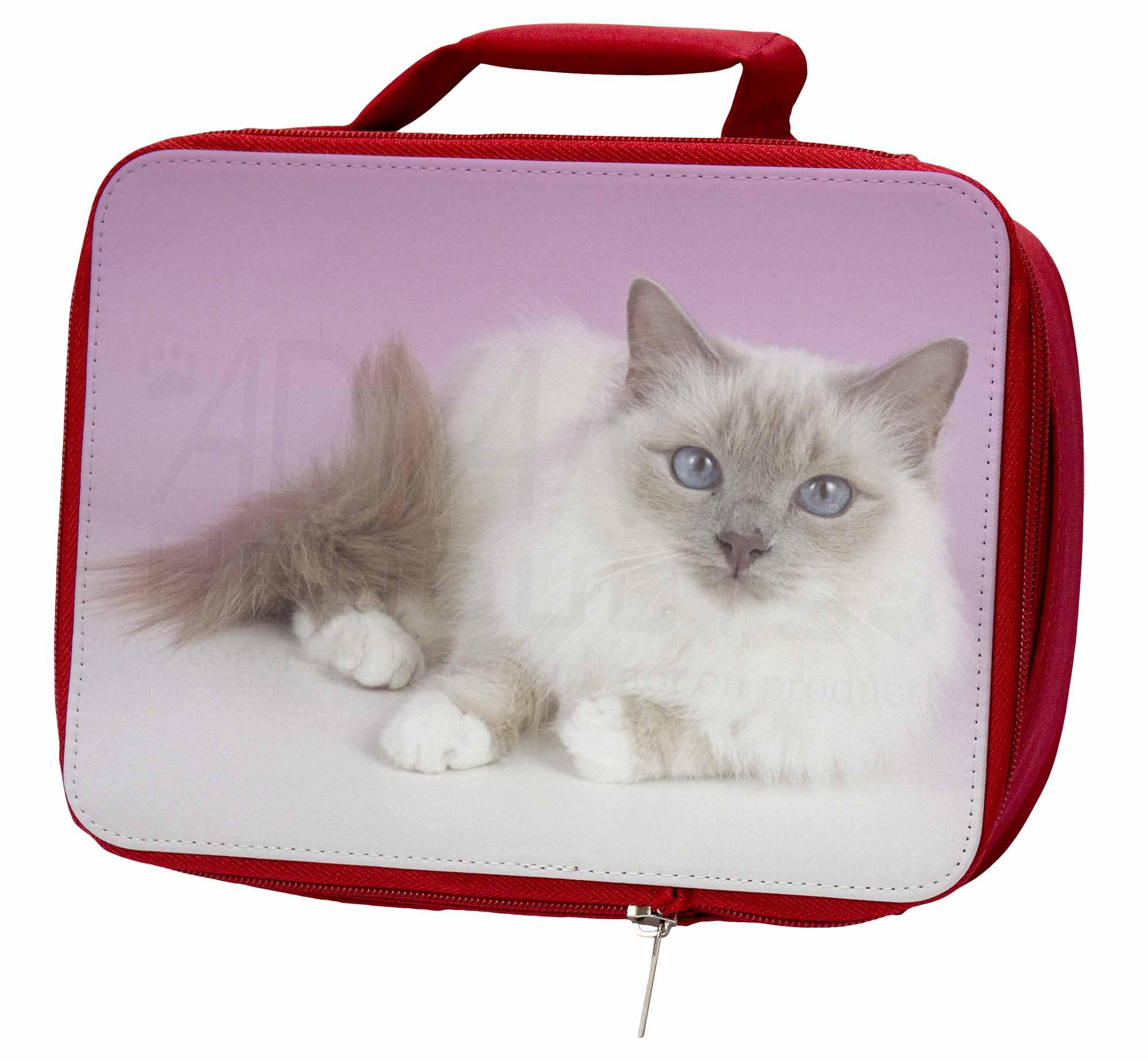Lilac Birman AC-91LBR Cat Insulated Red School Lunch Box/Picnic Bag, AC-91LBR Birman 0ef201