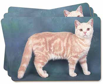 British Shorthair Ginger Cat Picture Placemats in Gift Box