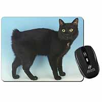 Cute Black Bobtail Cat Computer Mouse Mat Birthday Gift Idea