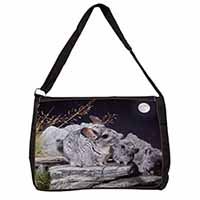 South American Chinchillas Large Black Laptop Shoulder Bag School/College