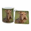 Airedale Terrier with Love Mug+Coaster Christmas/Birthday Gift Idea