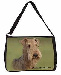 Airedale Terrier with Love Large Black Laptop Shoulder Bag School/College