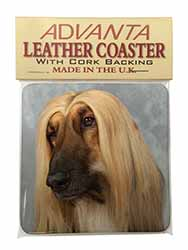 Afghan Hound Dog Single Leather Photo Coaster Perfect Gift